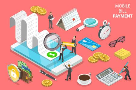 Photo pour Online bill payment flat isometric vector concept - image libre de droit