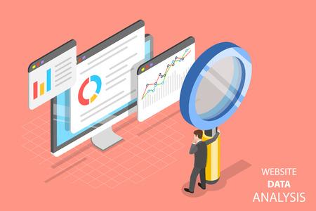 Ilustración de Flat isometric vector concept of website data analysis, web analytics, SEO audit report, marketing strategy. - Imagen libre de derechos