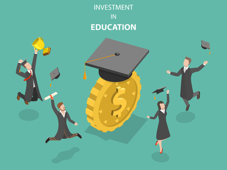 Illustration pour Investment in education flat isometric vector. - image libre de droit