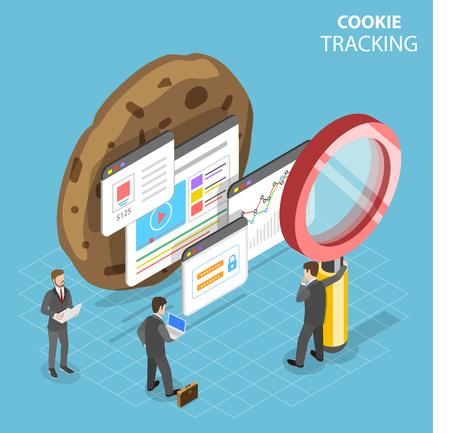 Illustration pour Flat isometric vector concept of web cookie tracking. - image libre de droit
