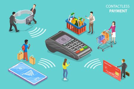 Ilustración de Flat isometric vector concept of contactless, wireless, cashless payment, NFC - Imagen libre de derechos