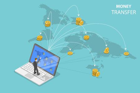 Vektor für Isometric flat vector concept of sending money around the world, money transfer, online banking, financial transaction. - Lizenzfreies Bild