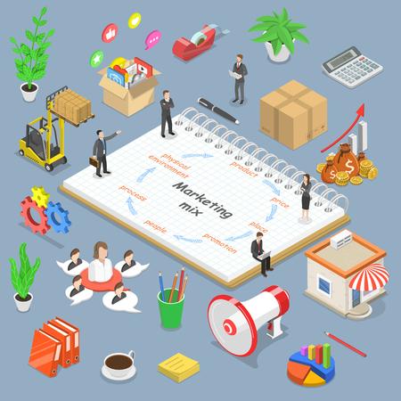 Ilustración de Isometric flat vector concept of marketing mix model, business concept strategy. - Imagen libre de derechos