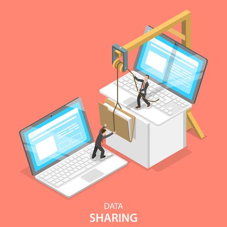 Illustration pour Isometric flat vector concept of data sharing service, social network, information exchange, file transfer. - image libre de droit