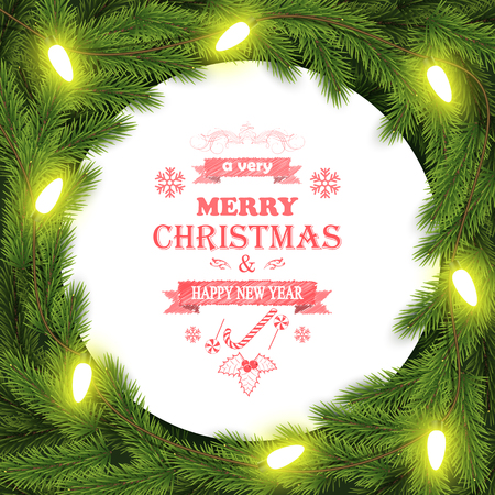 Foto de Christmas and New Year typography background with branches. - Imagen libre de derechos