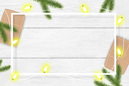 Illustration pour Christmas and New Year vector background with gifts and fir branches. - image libre de droit