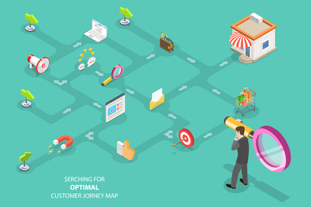 Illustration for Isometric flat vector concept of serching for optimal customer journey, digital marketing campaign, promotion, advertisment. - Royalty Free Image