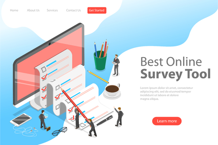 Illustration pour Flat isometric vector landing page template of online survey tool, customer review, feedback service, customer satisfaction. - image libre de droit