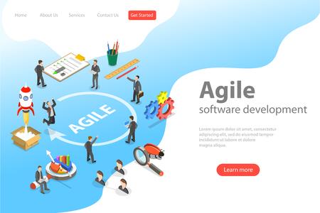 Illustration pour Flat isometric vector landing page of agile software development, product design methodology. - image libre de droit