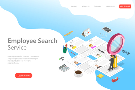 Illustration pour Isometric flat vector landing page template of employee search service, headhunting, recruitment, HR manager review. - image libre de droit