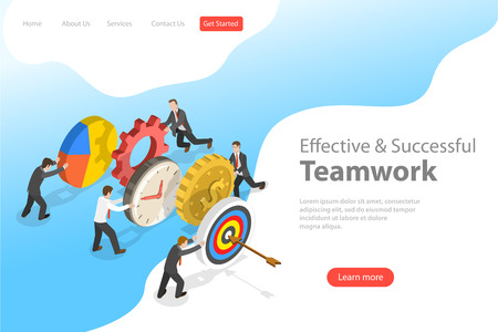 Flat isometric vector landing pate template of effective teamwork.