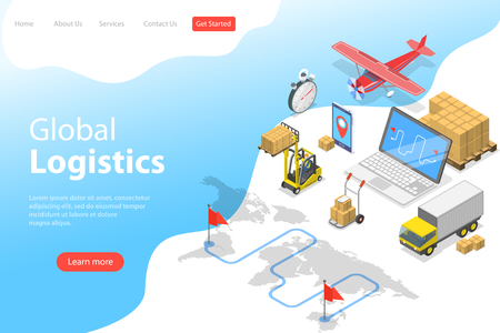 Illustration pour Flat isometric vector landing page template of global logistics, worldwide freight shipping, fast delivery. - image libre de droit