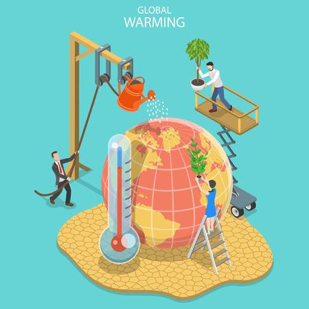 Illustration pour Isometric flat vector concept of global warming, climate change. - image libre de droit