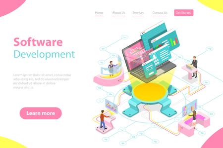 Illustration pour Flat isometric vector landing page template of software development. - image libre de droit