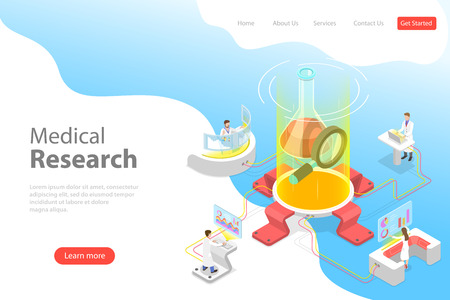 Ilustración de Isometric flat vector landing page template of medical research. - Imagen libre de derechos