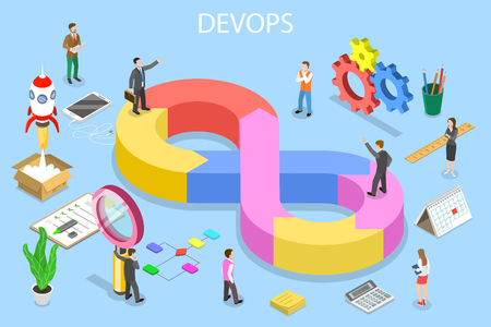 Illustration pour Isometric flat vector concept of DevOps, development and operations, software development, testing and support. - image libre de droit