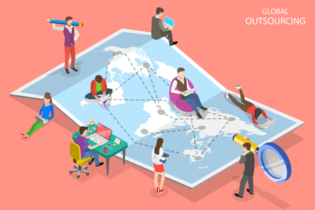Illustration pour Isometric flat vector concept of global outsourcing, company remote management, distributed team, freelance job. - image libre de droit