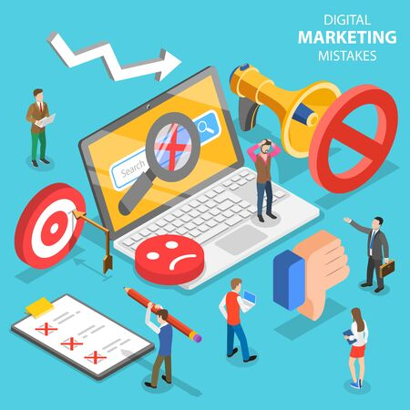 Illustration pour Isometric flat vector concept of digital marketing mistakes, wrong strategy. - image libre de droit