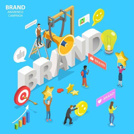 Illustration pour Isometric flat vector concept of brand awareness campaign. - image libre de droit