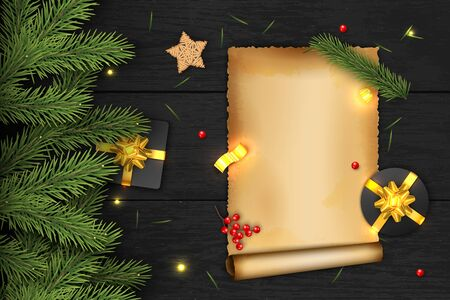 Illustration pour Christmas Vector Composition on Dark Wooden Background. For Greeting Card. - image libre de droit