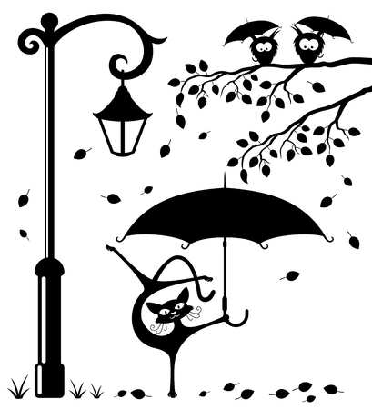 Illustration for Funny cat with an umbrella. - Royalty Free Image