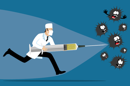 Illustration pour Doctor with a syringe in his hands. - image libre de droit