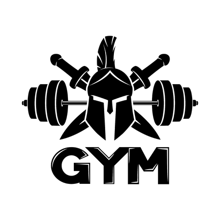 Photo for Gym sign with spartan helmet. - Royalty Free Image