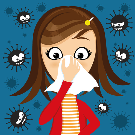 Illustrazione per Girl has runny nose and viruses around. - Immagini Royalty Free