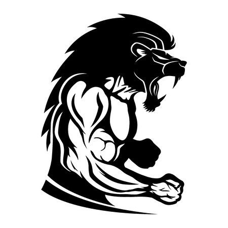 Sign of muscular athlete fighter with lion head.