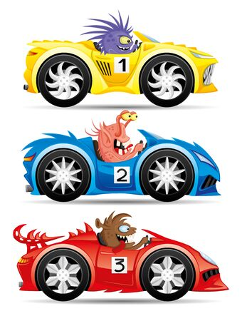 Illustration for Set of monsters in racing cars. - Royalty Free Image