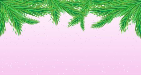 Illustration for Christmas background with fir branches on a blue winter background. - Royalty Free Image