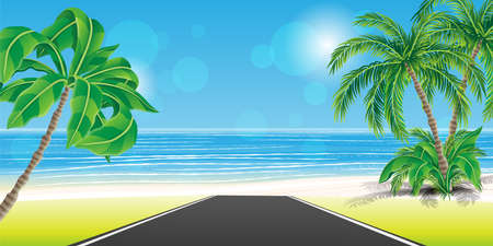 Illustration pour Road to tropical beach with palm trees and white sand. - image libre de droit