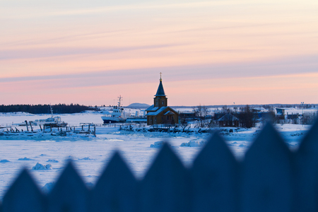 Russian northern village at the White Sea