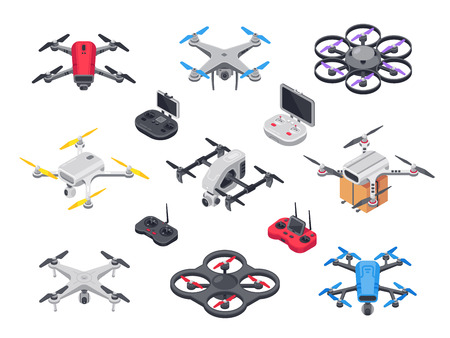 Illustration pour Remote control flying copter with camera. Radio controllers for - image libre de droit