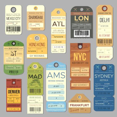 Ilustración de Luggage carousel baggage vintage tag symbols. Old train ticket and airline journey stamp symbol. London tour trip ticket vector set - Imagen libre de derechos