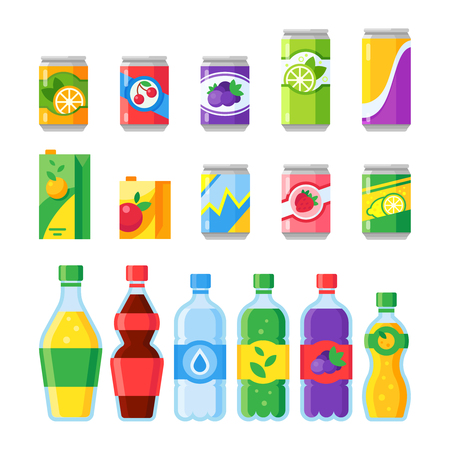 Illustration pour Drink beverages. Cold energy or fizzy soda beverage, sparkling water and canned fruit juice in glass bottles. Cartoon colorful purple orange green red blue yellow drinks isolated flat vector icons set - image libre de droit