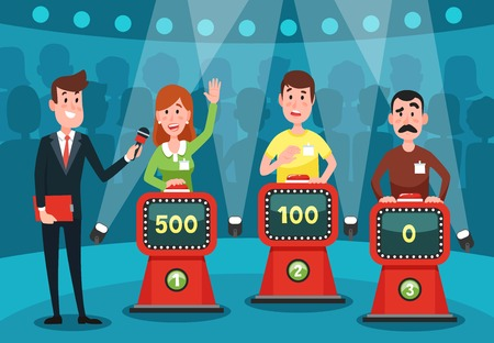 Illustration for Young people guessing quiz questions. Intellectual game show studio with playing buttons on stands for male and female excited intelligent players character cartoon colorful vector illustration - Royalty Free Image