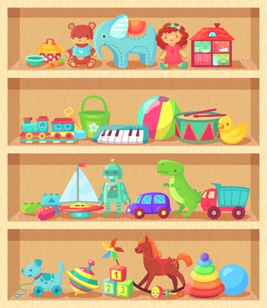 Illustration pour Cartoon toys on wood shelves. Funny animal baby piano constructor girl doll and ball robot plush bear colorful vintage elements for child joy. Kids toy shopping shelf vector group objects collection - image libre de droit