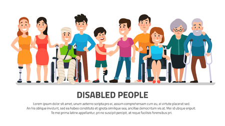 Illustration pour Help disabled person. Happy disability people helping young student in wheelchair, friendly handicapped boy with group of friends diverse adults medical colorful cartoon vector illustration collection - image libre de droit