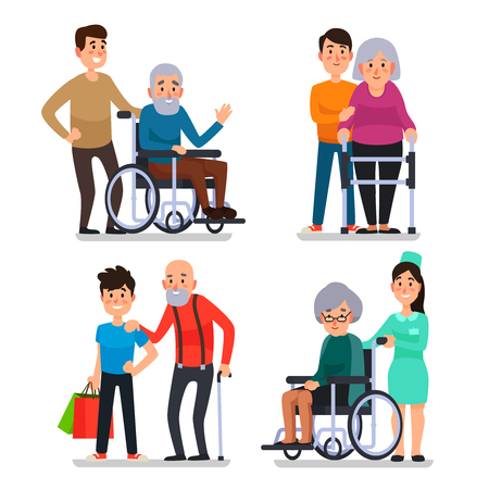Ilustración de Help old disabled people. Social worker of volunteer community helps elderly citizens at home and sick character patients on wheelchair, nurse caring senior with cane colorful vector set icon - Imagen libre de derechos