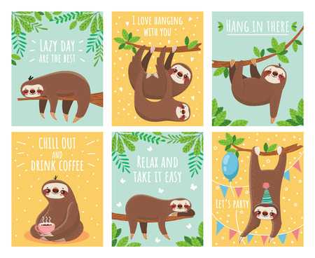 Illustration pour Greeting card with lazy sloth. Cartoon cute sloths cards with motivation for party sleepy pajama child t-shirt and congratulation birthday text. Slumber branch fun animals colorful illustration set - image libre de droit