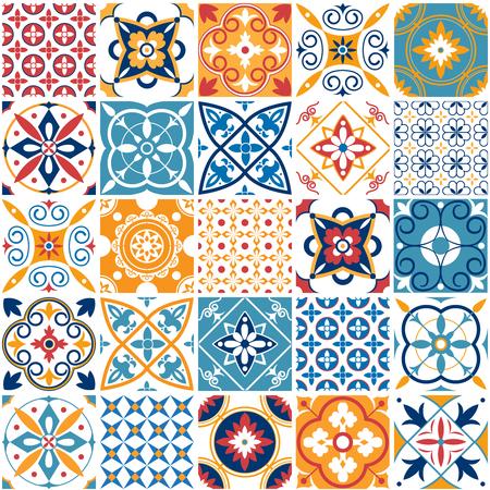 Illustration pour Portugal seamless pattern. Vintage mediterranean ceramic tile texture retro symmetrical shapes azulejo pattern tiling. Geometric tiles patterns and wall print abstract design textures vector set - image libre de droit