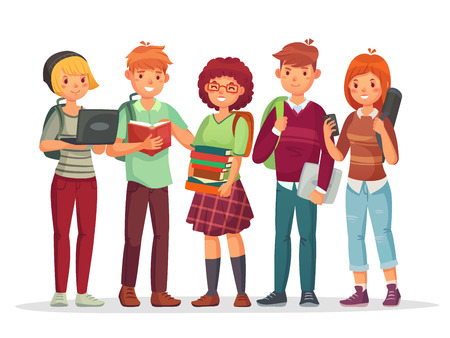 Vektor für Teenagers students group. Young teens highschool smiling student friends english teenage learning together. Teenager happy characters with casual school backpack vector illustration - Lizenzfreies Bild