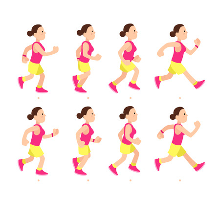 Photo for Cartoon running girl animation. Athletic young woman character profile run or fast walk. Animated motion sport walking side view, long distance runner vector illustration - Royalty Free Image