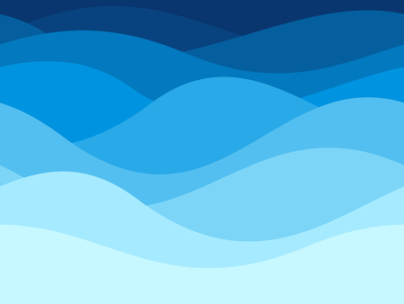 Foto de Blue waves pattern. Summer lake wave lines, beach waves water flow curve abstract landscape, vibrant silk textile texture vector seamless background - Imagen libre de derechos