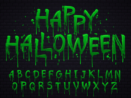 Green slime font. Halloween toxic waste letters, blot scary horror greens goo alphabet text sign and blots splash liquid slimes spooky letters, goo vector isolated symbols set