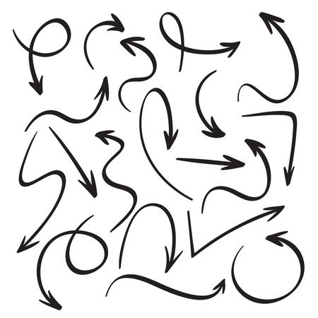 Ilustración de Cartoon black arrows. Hand drawn arrow sketch. Swirl, return back and sketchy direction pointer cursor marker ink drawings, outline doodle pointer vector isolated icons set - Imagen libre de derechos