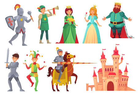 Illustration for Medieval characters. Royal knight with lance on horseback, princess, kingdom king and queen, historical renaissance chivalry and nobility fairytale isolated vector icons character set - Royalty Free Image