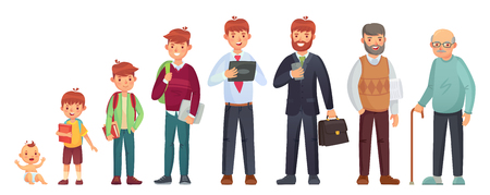 Illustration pour Male different age. Newborn baby, teenage boy and student ages, adult man and old senior. People generations or male aging process. Kid, student and adult man, life cycle isolated vector illustration - image libre de droit