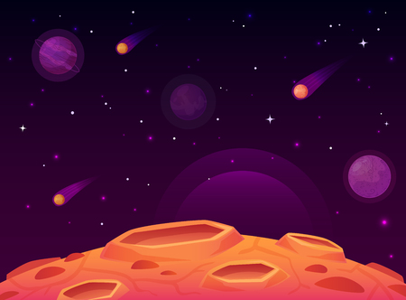 Illustration pour Space asteroid surface. Planet with craters surface, space planets landscape and comet crater. Futuristic atmosphere, meteorite rain horizon land, moon destruction cartoon vector illustration - image libre de droit